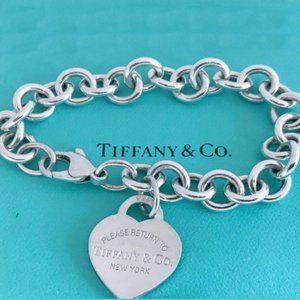 Tiffany & Co. Sterling Heart Tag Charm Bracelet